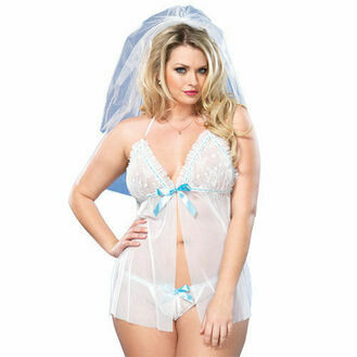 Leg Avenue Mesh Babydoll And GString UK 16 to 18