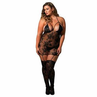 Leg Avenue Strappy Suspender Bodystocking UK 16 to 18