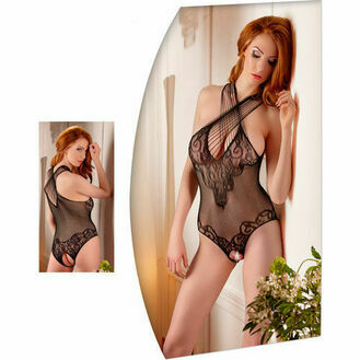 Mandy Mystery Lingerie Lace Body Suit With Open Crotch