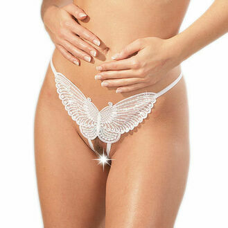 Cottelli Collection Sequined White Butterfly GString Crotchless
