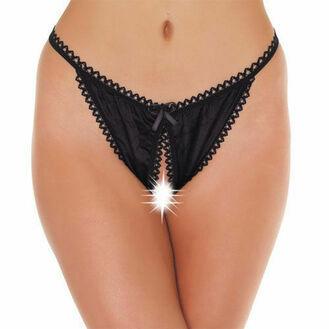 Black Crotchless Tanga