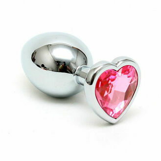 Small Butt Plug With Heart Shaped Crystal 2.8 Inch
